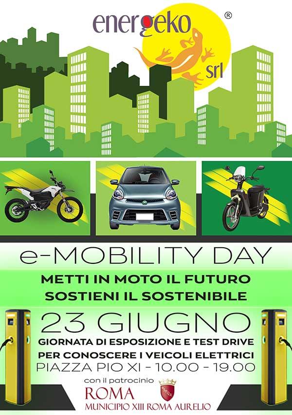 locandina esposizione veicoli elettrici test drive elettrico roma